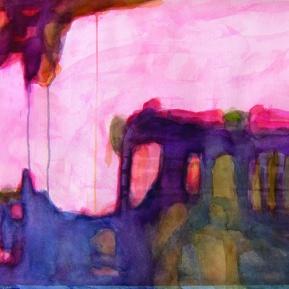 unohtunut maisema, 52°N,13°E, 56 x 76 cm, akvarelli paperille, 2013