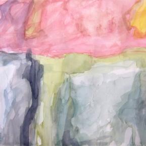 Unohtunut maisema, 20°N, 87°W, 56 x 76 cm, akvarelli paperille, 2013