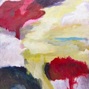 Korppi ja puutarha (Hyökkäys), öljy kankaalle, 115 x 86 cm, 2013
